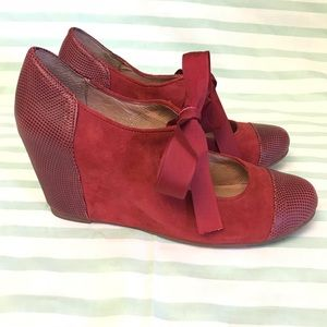 Jeffrey Campbell Ynez Red Suede Mary Jane Wedge
